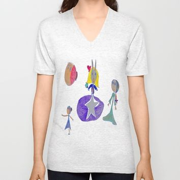 Alice | Up to the light sky Unisex V-Neck by Azima