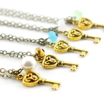 Tiny Antiqued Brass Key Necklace - Vintage Style Tiny Key Necklace - Bridesmaids Gifts Idea - Pearl, Sparkle Bead, White, Aqua, Green, Gold