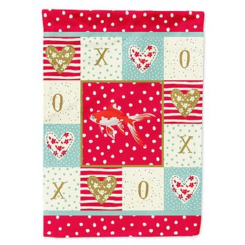 Comet Goldfish Love Flag Canvas House Size CK5472CHF