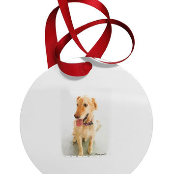 Golden Retriever Watercolor Circular Metal Ornament