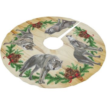 Christmas Wolf Pack Wood Brushed Polyester Tree Skirt