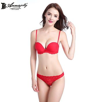 Annajolly Women Party Wedding Bra Sets Sexy Push Up Bra And Panties Briefs Red Black Champagne Lingerie Underwear Fashion U8559