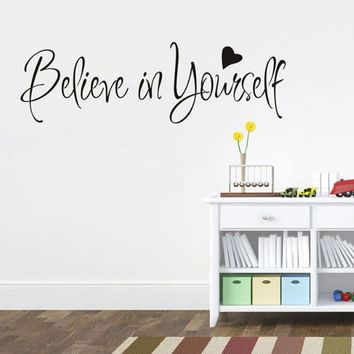 """56*20CM  """"Believe In Yourself"""" Vinyl Sticker New Removable Waterproof Wall Decal Inspirational Motto"""