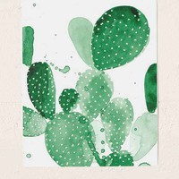 The Aestate Green Paddle Cactus Art Print