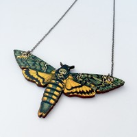 Wooden Moth Necklace