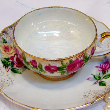 Take 50% Off Vintage Footed Tea Cup and Saucer Gold Iridescent Shabby Roses Made In Japan