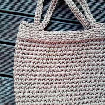 Knitted Bag/ Rope Bag/ Handmade Bag/ Chrochet Bag Bolso/ Nude Bag/ Summer Handbag