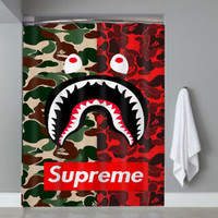 Supreme X Bape Camo RED Custom Shower Curtain Limited Edition