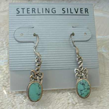 Turquoise Drop Sterling Silver Earrings New on Card Jewelry