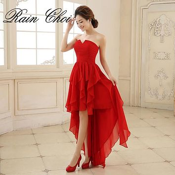 Sexy Red Chiffon A Line Formal Dress Wedding party Gown Floor Length Long Bridesmaid dresses 2017