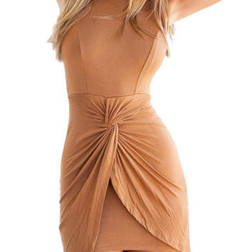 Brown Ruched Twist Front Asymmetric Mini Dress