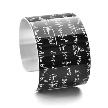 Math Equation Chalkboard Image Aluminium Geekery Cuff