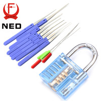 NED Mini Blue Visible Pick Cutaway Practice Padlock Lock With Broken Key Removing Hooks Lock Extractor Set Locksmith Tool