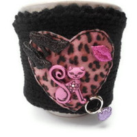 Knitted Mug Cozy with Leopard Print