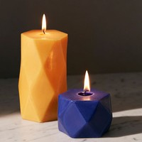 Short Faceted Pillar Candle | Urban Outfitters