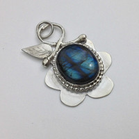 Artisan Bezel Set  Water Labradorite Flower and leaf Pendant  AAA gemstone and sterling silver100% handmade