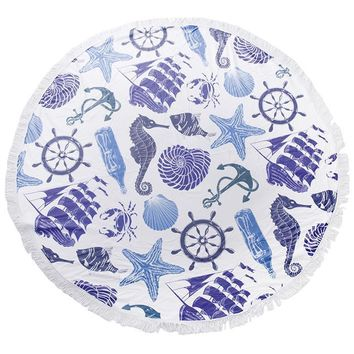 Anchor Sea Life Round Beach Terry Towel