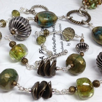Olive Green Ceramic Necklace,Olive Green Art, Metal Art,Green and Gold,Olive Green Spinner Ball,Gold and Green Necklace,Lime Green Lampwork