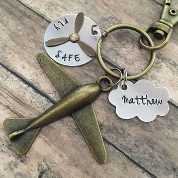 Airplane Key Chain, Airplane Keychain, Pilot Gifts, Gifts for Him, Gifts for Dad, Father's Day Gift, Co-Pilot Keychain, Aviation Gifts