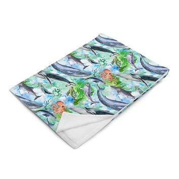 Sea Life Ocean Animals Warm Throw Blanket with Sharks, Whales, Dolphins, Sea Turtles and Octopus