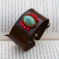 Turquoise Leather Cuff Bracelet with Coral - Macrame Semi Precious Stone Bracelet - Sleek Style (Stone for protection and friendship)