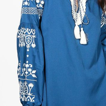 Amelia Boutique Embroidered Woven Smock Top | Boohoo