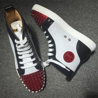 Cl Christian Louboutin Lou Spikes Style #2209 Sneakers Fashion Shoes - Best Deal Online