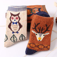 Hot Fashion New Women Winter Cartoon Cotton Ankle Socks Cute Deer Wool Sock Christmas Gift calcetines mujer For Girl Cheap Z1