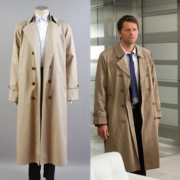 Supernatural Hunter Angel Emmanuel Cas/Castiel Twill Trench Coat Cosplay Costume Halloween Carnival Men