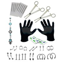 BodyJ4You Body Piercing Kit Hamsa Belly Button Rings Set 16G 14G Jewelry 36 Pieces