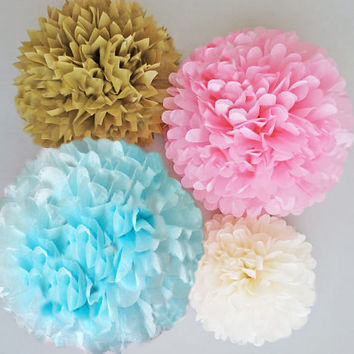 Pink, Light Blue & Gold Tissue Paper Pom Poms 4 Piece Set - Weddings - Baby Shower - Gender Reveal Decorations - Nursery - Party Decorations