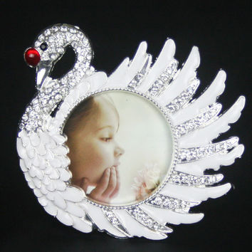 New Fashion Crystal White Swan Home Decor Photo Frame Picture Frame Alloy Metal 2''