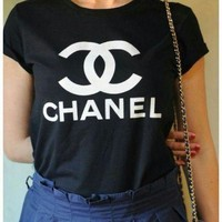 ONETOW CHANEL Sport Letters Print Sport Shirt Top Tee