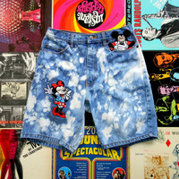 Vintage High Waisted Denim Shorts - 90s Upcycled Custom Bleached/Stone Washed DISNEY Jean Shorts w Minnie & Mickey Mouse Appliques Size 8/10