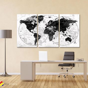 "LARGELARGE 30""x 60"" 3 panels 30x20 Ea Art Canvas Print Watercolor Gray Map World Push Pin M1828"