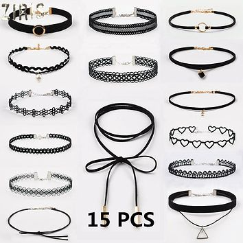 15 Pcs/pack Choker Necklace Black Lace Leather Velvet Strip