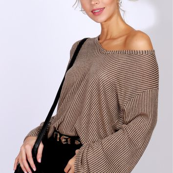 Mixed Feelings Knit Sweater Mocha/Black