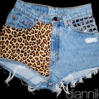 Cheetah ANY SIZE Vintage High Waisted Denim Shorts by Diannikco