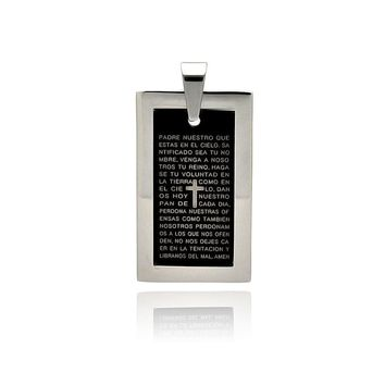 Black steel dog tag with god's prayer stainless steel pendant
