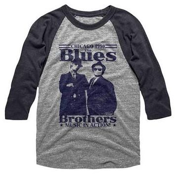 Mens The Blues Brothers In Action Raglan