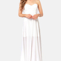 Evening Star Strapless White Maxi Dress