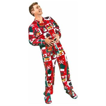 Ugly Christmas Sweater Footed Pajamas for Adults Fleece with Drop Seat