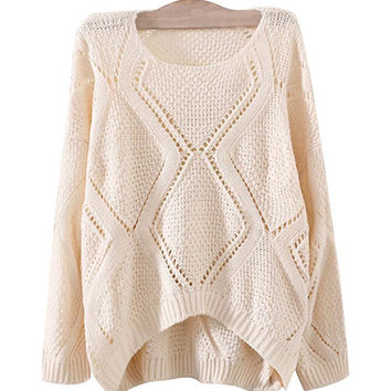 Cream Slouchy Knit Sweater