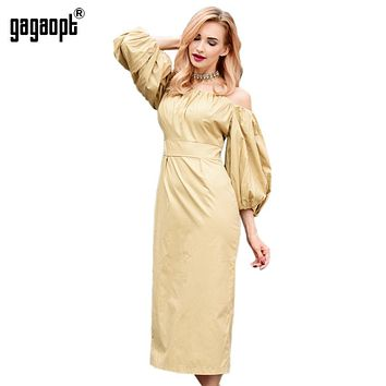 Gagaopt Brand 100% Cotton Autumn Dress Off the Shoulder Puff Sleeve Vintage Long Dress Party Dresses Robe Femme Vestidos