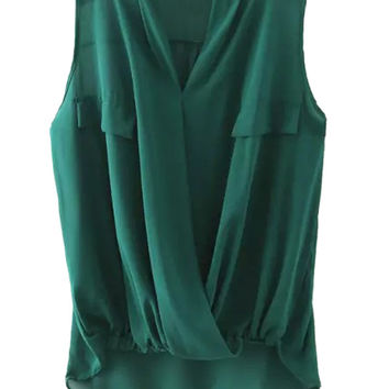 Green V-neck Wrap Ruched Sleeveless Chiffon Blouse