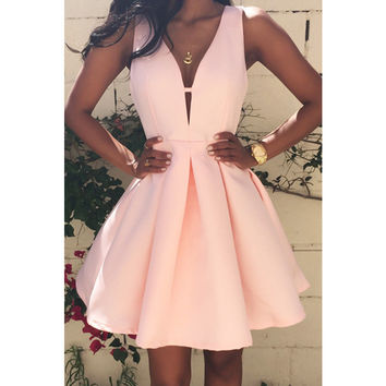 Summer Casual Women's Sexy Deep V-NECK Zipper Dress 2016 New Arrival Solid Color Sleeveless Tank Female A-line Mini Dresses