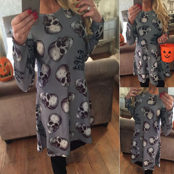 Gray Skull Head Print Long Sleeve Dress