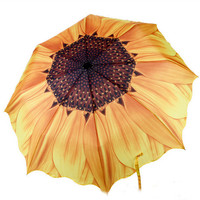 Sunflower Auto Open Floding Travel Rain Umbrella