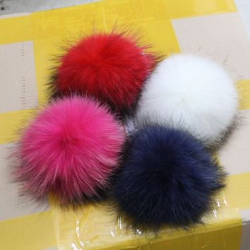 15CM 100% Genuine Raccoon Fur pom poms Big Full Size Winter Knit Baby Kids hats caps Headwear Decoration For Girls and Boys
