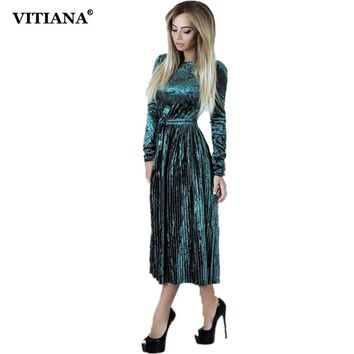 VITIANA Women Maxi Long Casual Velvet Dress Female Autumn Green Blue Long Sleeve A-line Vintage Elegant Pleated Party Dresses